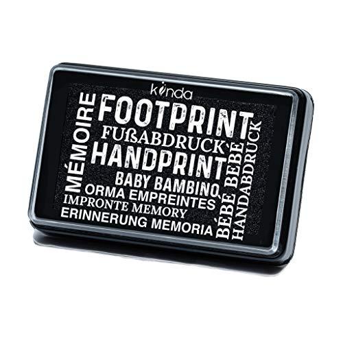 Kit de impresión de huellas de mano y pies de Bebé - almohadilla con tinta segura para bebé para impresiones de manos y pies - fácil de lavar (negro)