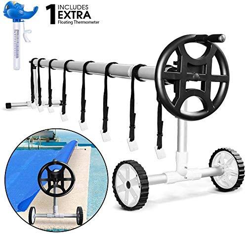 MASTERTOP 138In-236In Pool Aufroller und Aufrollvorrichtung Aufrollsystem für Schwimmbad, ausziehbar, Edelstahl und Aluminium