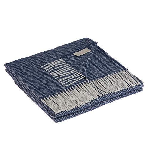 LANEROSSI - Decke Roberta, leicht und frühling, Baumwollmischung, 130 x 170 cm, Jeans