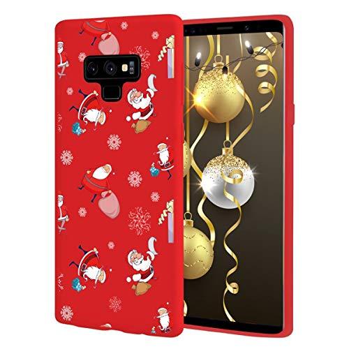 ZhuoFan Funda para Samsung Galaxy Note 9, Cárcasa Silicona Rojo 3D con Dibujos Navidad Diseño Suave Gel TPU Antigolpes de Protector Case Fundas para Movil Samsung Galaxy Note 9, Regalo