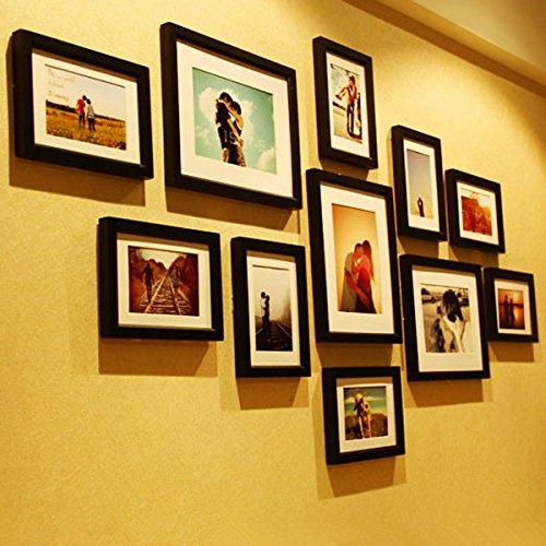 BAZAAR 11 pcs solide Combinaison à fixation murale en bois Cadre photo Home Decor