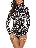 Queen.M Women's Basic Solid Bodysuit Turtleneck Leotard Top Long Sleeve Bodycon Jumpsuit Stretchy Romper (Floral, XL)