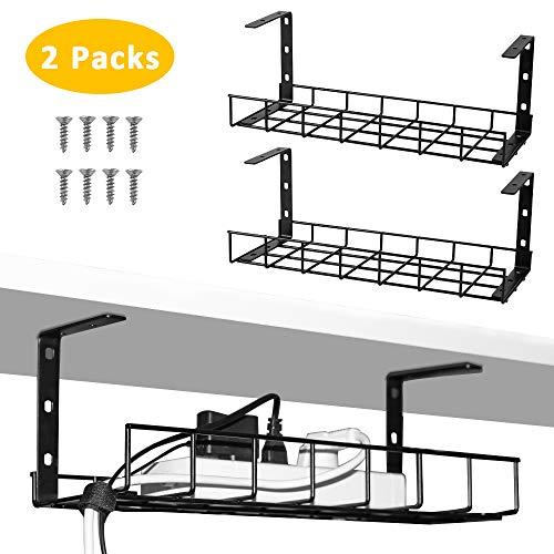 2 paquetes de bandeja de gestión de cables, organizador de cables de 40 cm para administración de cables, bandeja de cable de metal para escritorios, oficinas y cocinas negro