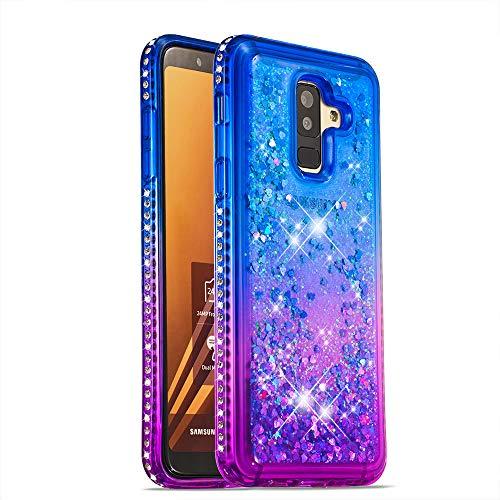 COTDINFOR Samsung Galaxy A6 Plus 2018 Funda Líquido Degradado de Color Glitter Sparkle Bling Quicksand Caso Silicona Blanda Protectora Carcasa para Samsung Galaxy A6 Plus 2018 TPU Blue Purple YB.