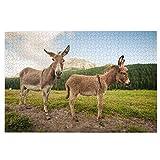 KIMDFACE Rompecabezas Puzzle 1000 Piezas,Dos Lindos burros en Dolomitas Italia,Puzzle Educa Inteligencia Jigsaw Puzzles para Niños Adultos