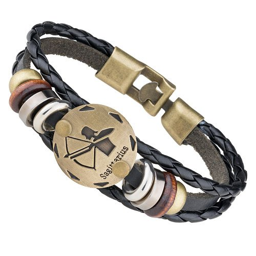 Mianova Unisex Leder Armband Armreif Surfer Armband Armreif Vintage Leder Armband Armreif mit Sternzeichen Charms Schwarz Altgold Schütze