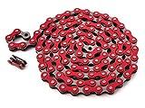 KHE BMX/Fixie Kette 1/2' x 1/8' 112 Glieder Links nur 385g mit Kettenschloss I4 - viele Farben (rot)
