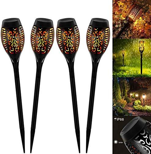 Luces de llamas jardin solares, 12 LED luces solares exteriores con llamas danzantes solares para decoración, jardín, patio, patio al aire libre(4 pièces)
