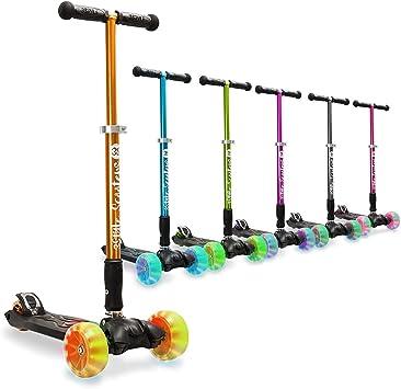 3StyleScooters® RGS-3 Patinete de Tres Ruedas para Niños Mayores Niños de 7 Años o Más con Luces LED en Ruedas de 5cm, Diseño Plegable, Manillar ...