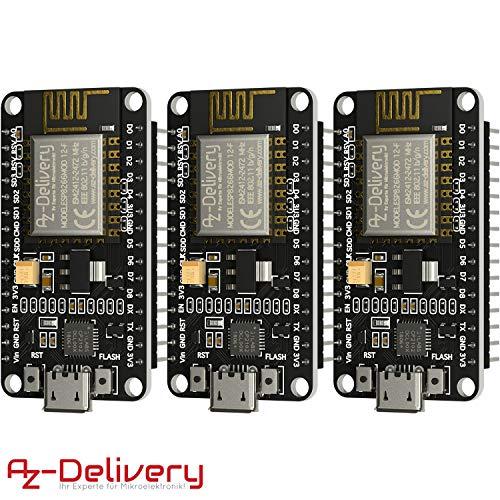 AZDelivery 3 x NodeMCU Lua Amica Modul V2 ESP8266 ESP-12F WIFI Wifi Development Board mit CP2102 inklusive E-Book!