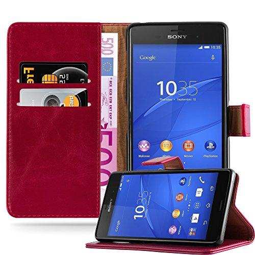 Cadorabo Hülle für Sony Xperia Z3 in Wein ROT – Handyhülle mit Magnetverschluss, Standfunktion & Kartenfach – Hülle Cover Schutzhülle Etui Tasche Book Klapp Style