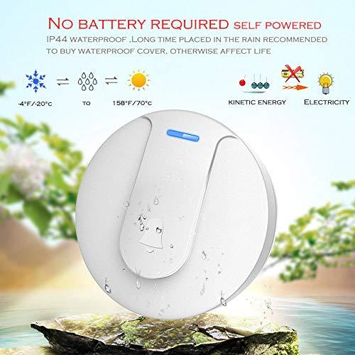 Zelfvoorzienende waterdichte draadloze deurbel nachtlampje zonder batterij EU-stekker naar huis draadloze deurbel 180M 58 beltonen 105Db I wit