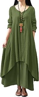 Romacci Women's Boho Dress Casual Irregular Maxi Dresses Vintage Loose Long Sleeve Cotton Linen Dress
