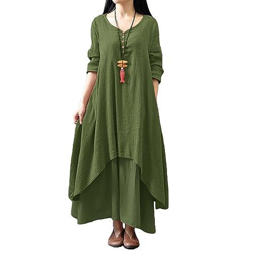6d368fe3af Romacci Women Boho Dress Casual Irregular Maxi Dresses Vintage Loose Long  Sleeve Cotton Viscose Dress