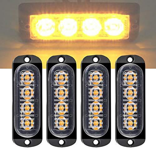 Luz Estroboscópica Intermitente Emergencia, 4 Led Universal IP65 Impermeable Ámbar Advertencia de Seguridad Luz Estroboscópica de Peligro Rejilla Intermitente Barra de Luces de Trabajo (4 LED Yellow)