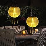 Lanterne cinesi solari, Lanterna Solare Esterni 2pcs IP44 Illuminazione Solare a LED per Feste, Giardino, Matrimoni, Patio, Parco, Prato, Natale