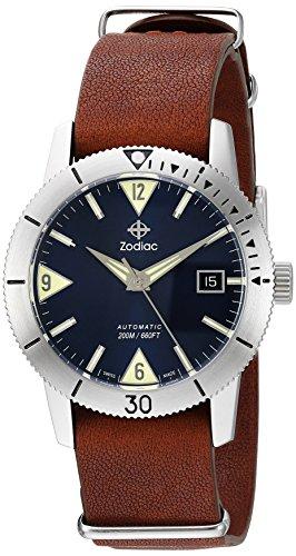 Zodiac 'Super Mar del Hombre Lobo 53piel de Swiss automático reloj Casual de cuero y acero inoxidable, color: marrón (modelo: zo9204)