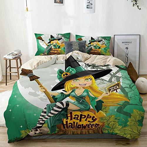 Juego de funda nórdica beige, alegre niña sonriente en disfraz de Halloween en un bosque de luna gigante de calabaza, juego de cama decorativo de 3 piezas con 2 fundas de almohada Fácil cuidado antial