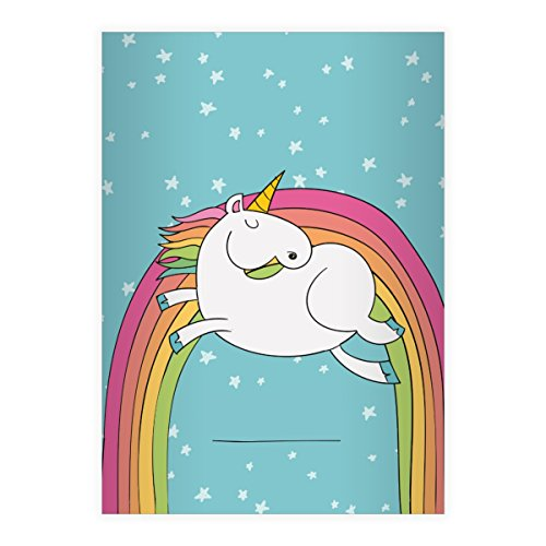 Kartenkaufrausch 2 Super süße Einhorn DIN A4 Schulhefte, Schreibhefte mit Regenbogen und Sternen in blau Lineatur 27 (liniertes Heft)