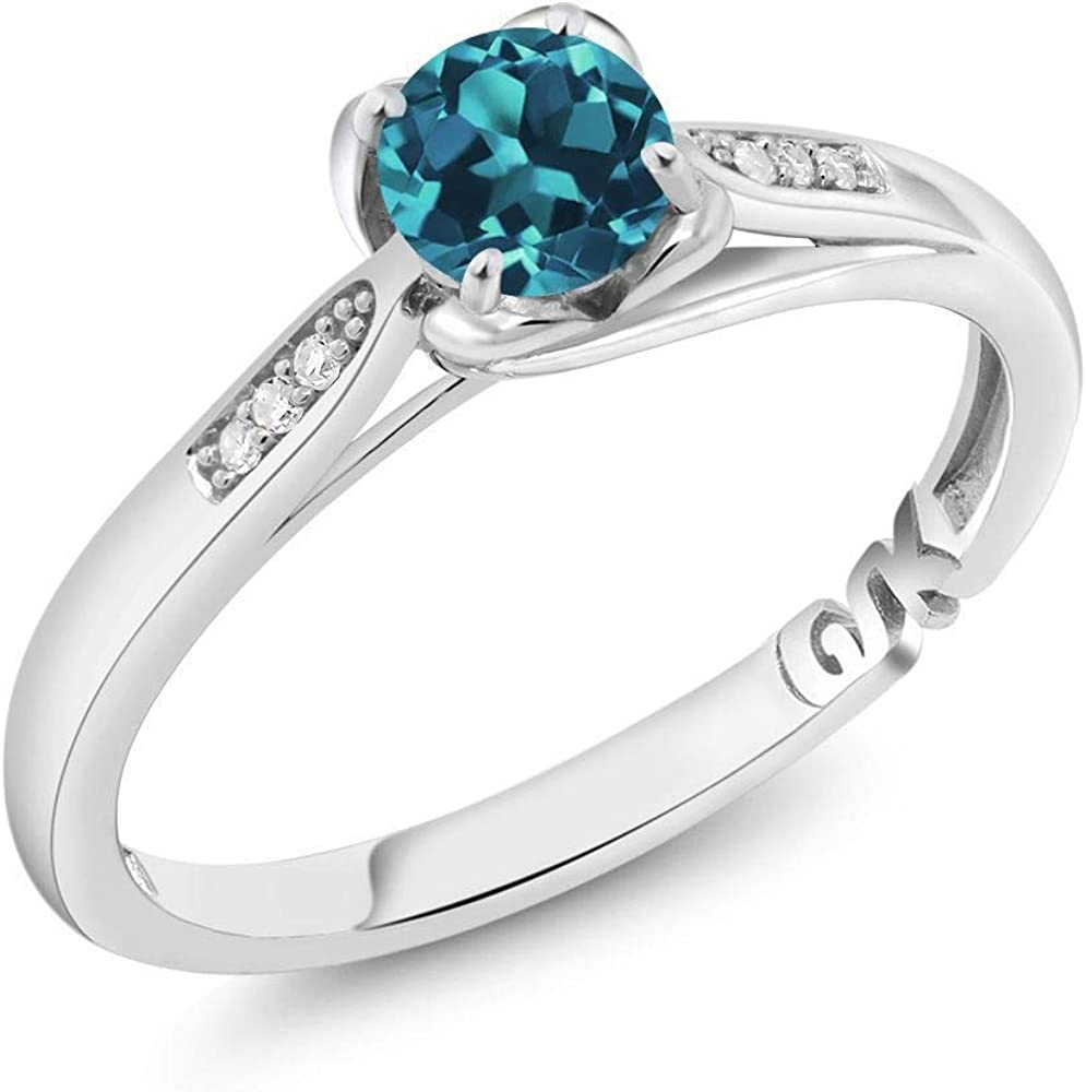 Gem Stone King 10K White Gold London Blue Topaz and Diamond Women Engagement Ring (0.54 Ct Round 5MM, Available 5,6,7,8,9)