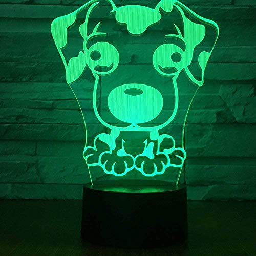 Cartoon Dog Usbcute Kid Bulb Cute Children 3D Illusion Lamp Suitable For Boys And Girls Bedroom Bar Living Room Birthday Christmas Gifts Usb Charging Touch Mode 7 Color Variations