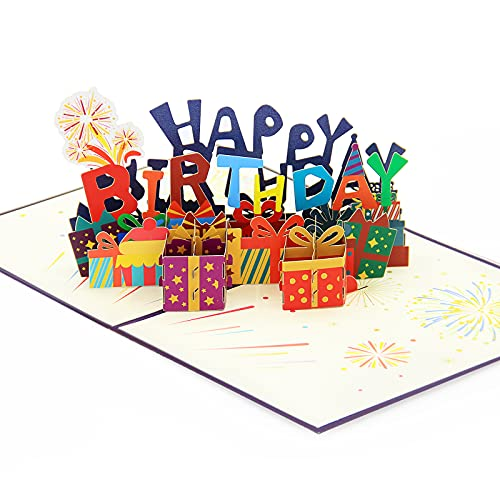 FONBAY 3D Pop Up Karte Handgefertigte 3D PopUp Geburtstagsgrußkarten mit Umschlag Jubiläums Pop Up Karte für Familie,Frauen,Mann,Mutter,Freunde,Mädchen (Happy Birthday)
