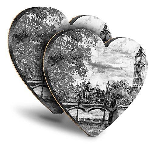 Destination Vinyl ltd Great Posavasos (juego de 2) Heart – BW – Romantic Couple London Big Ben Drink – Posavasos/protección de mesa para cualquier tipo de mesa #42513