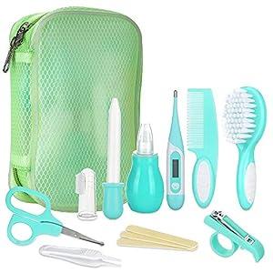 Lictin Set para el Cuidado del Bebé-10 Piezas Kit de Aseo Conveniente para Bebé con Termómetro electronico,Peine, Cepillo de Dientes de Dedo, Limpiador de nariz para Viaje y el Uso diario(Verde)