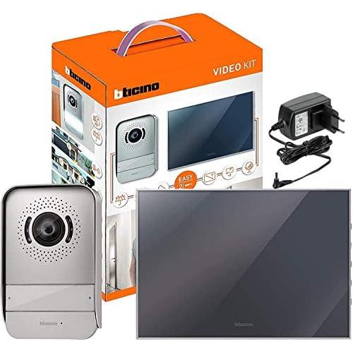BTicino 317013 Kit Videocitofono 2 Fili Monofamiliare, predisposto per Bifamiliare, Display 7 pollici a colori finitura a specchio, Compatibile con telecamera IP 391438