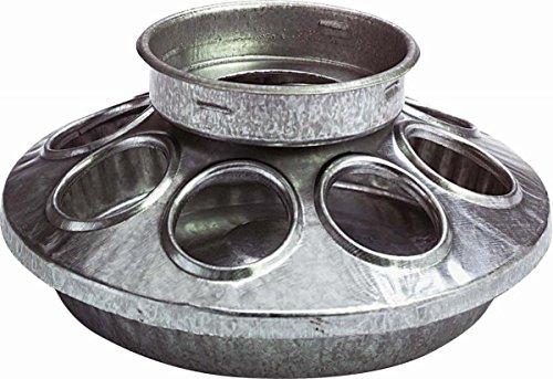 Miller Manufacturing 9810 Round Jar Galvanized Feeder Base for Birds, 1-Quart