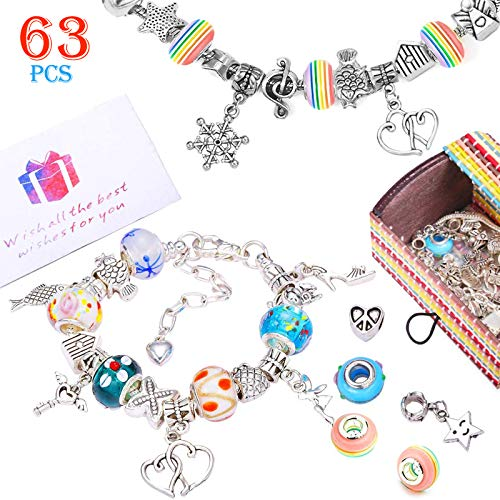 Jewellery Making Kit, Girls Charm Bracelet Making Kit DIY Jewellery Making, 60 Different Beads with 3 Silver Plated Snake Chains Charm, Arts and Crafts for Kids Age 8-12 Best Gift for Girls Teens