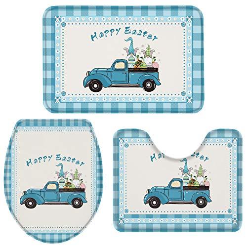 Non-Slip Bath Rug Sets 3 Piece for Bathroom-Happy Easter Truck Pull Gnomes and Eggs on Buffalo Plaid Border,Luxury Memory Foam Bathroom Mats- U-Shaped Contour Mat Toilet Lid Cover 20x31+16x20+16x18
