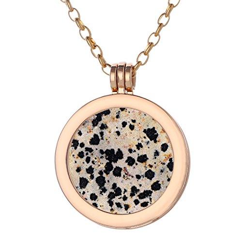 Morella Damen Halskette Gold 70 cm Edelstahl und Anhänger mit Edelstein Dalmatinerjaspis Coin 33 mm Chakren Scheibe in Schmuckbeutel