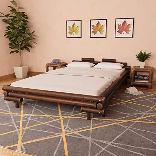 Festnight Bambusbett Bambus Bett Futonbett Doppelbett Holzbett für Matratzengröße 140 x 200 cm Dunkelbraun
