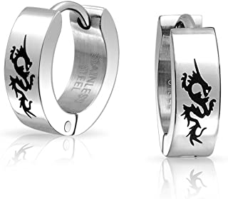 Tiny Asian Style Dragon Kpop Huggie Hoop Earrings For Men Women Laser Etched Silver Tone Stainless Steel