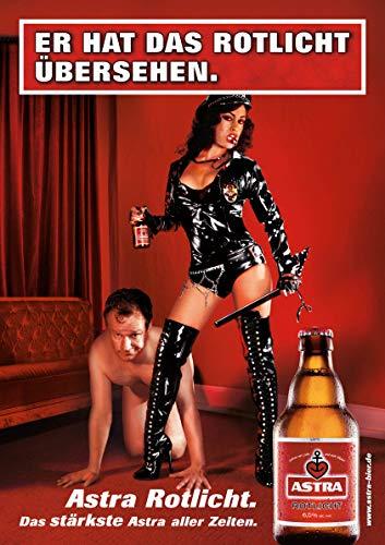 ASTRA Bier Werbung/Reklame Plakat DIN A1 59,4 x 84,1cm Er hat das Rotlicht übersehen, kultiges Poster aus St. Pauli