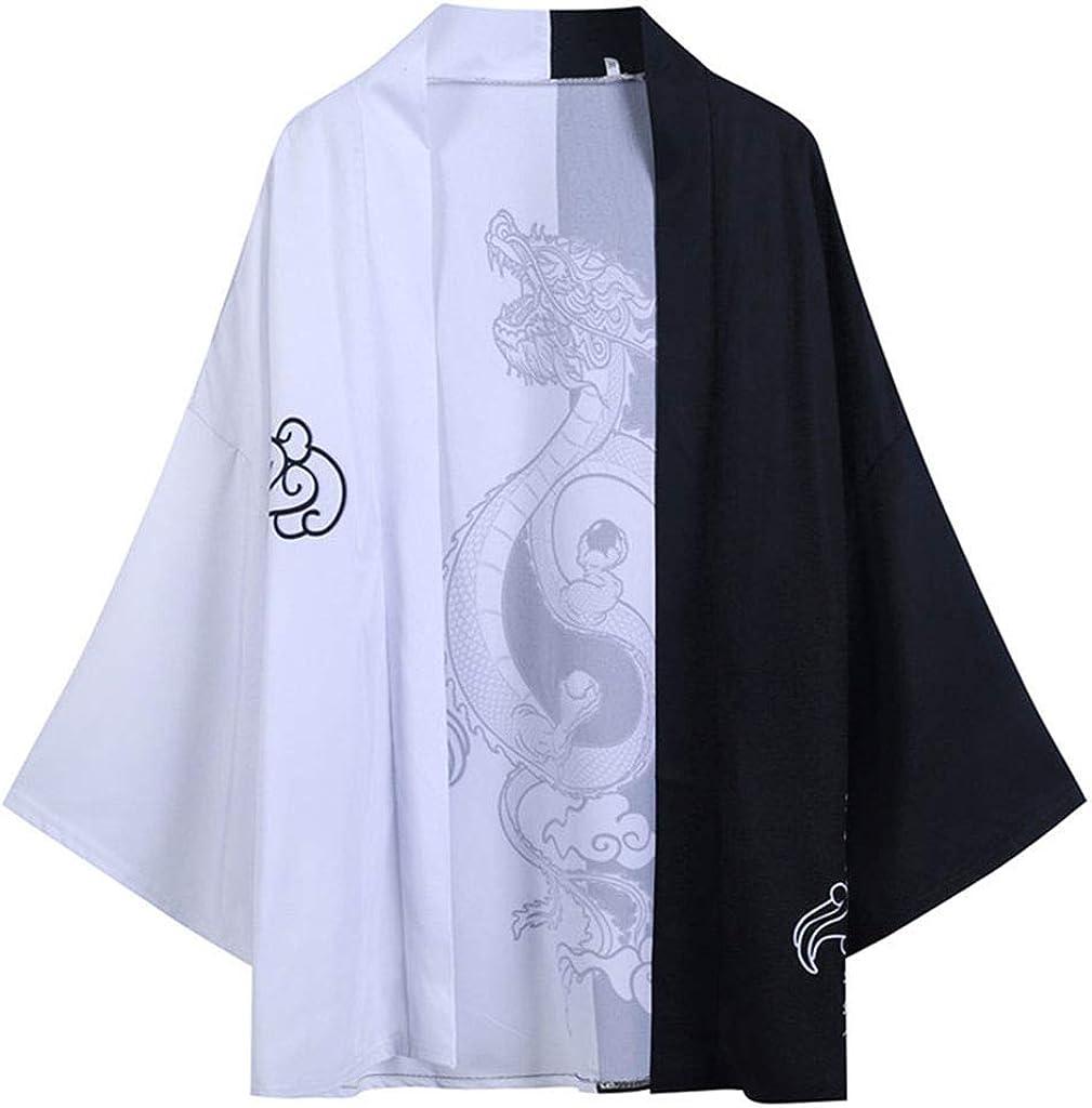 Men Japanese Kimono Cardigan-Chinese Style Japanese Robes Cardigan Feather Knitting Coat Baggy Kimono Cardigan Tops