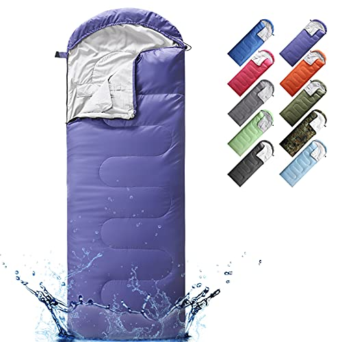 Sleeping Bags for Adults, Teens & Kids - Use for 3-4 Seasons, Warm & Cold Weather - Lightweight, Portable, Waterproof, Use for Backpacking, Hiking and Camping (Purple/Right Zip)