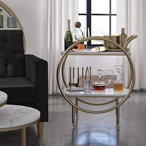 CosmoLiving by Cosmopolitan Amelia Round Bar Cart, White Marble