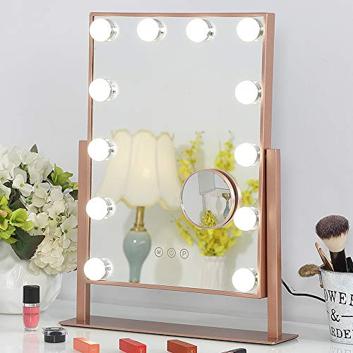 FENCHILIN Lighted Makeup Mirror Hollywood Mirror Vanity Makeup Mirror with Light Smart Touch Control 3Colors Dimable Light Detachable 10X Magnification 360°Rotation(Rose Gold)