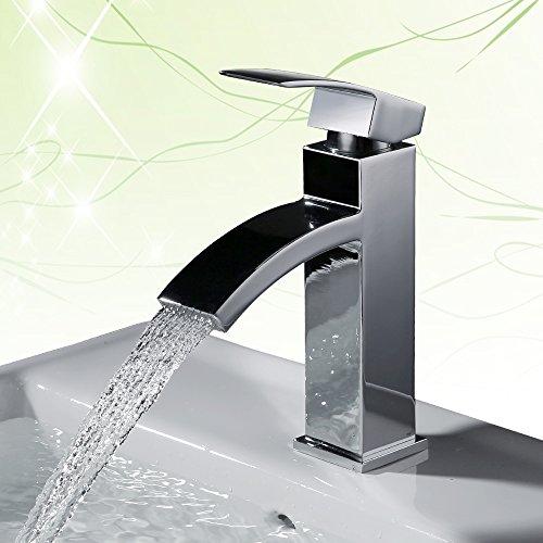 Homelody - Einhebel-Waschtischarmatur, ohne Ablaufgarnitur, Wasserfallarmatur, Chrom