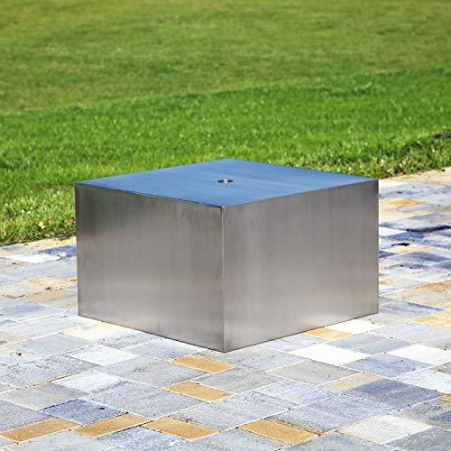 CLGarden Edelstahl Element Quader Design Springbrunnen DIY Garten Dekoration mit Wasserauslass Skulptur eckig modern