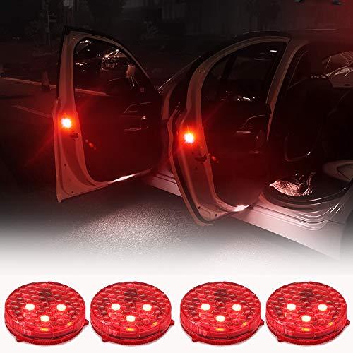 Spie per Porta Auto, Luci di Sicurezza Aperte a Led con Lampeggiante Rosso Lampeggiante Magnetico Impermeabile senza fili Anti collisione Luci di Avvertimento di Sicurezza Auto On/Off(4 Pacchi)