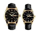 vestire orologio da polso oro nero per da quarzo casuali 2 pcs della vigilanza degli uomini del calendario amanti/coppie analogiche