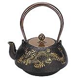 Tetera de hierro fundido, tetera de hierro fundido de estilo retro de 1,2 l con diseño de dragón doble, mango de cobre, color elegante y mano de obra maravillosa para adornos, regalos, colección