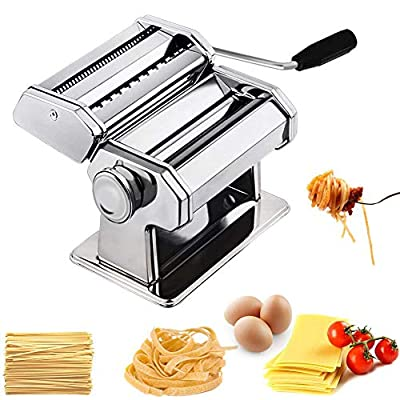 Sturdy Homemade Pasta Maker All in one 9 Thickness Settings for Fresh Fettuccine Spaghetti Lasagne Dough Roller Press Cutter Noodle Making Machine P1801