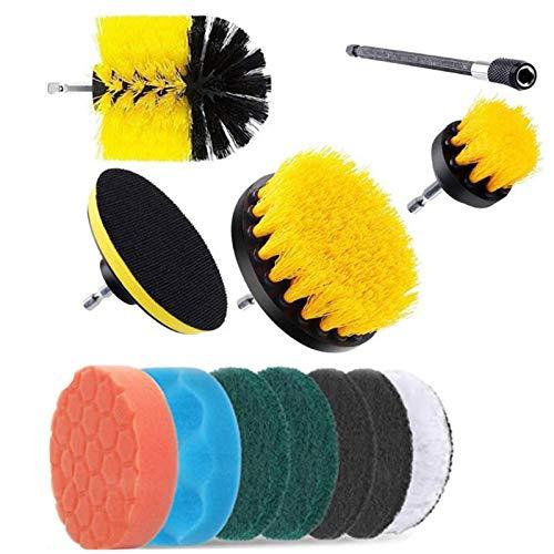 KKmoon Juego de 12 almohadillas de cepillo de taladro eléctrico para limpieza de alfombras de cristal y coche