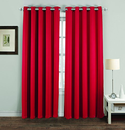 Hachette Thermal Blackout Curtains Eyelet Ring Top Including Pair of Tiebacks (Red, 46' X 72')
