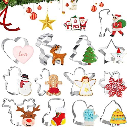 13 Pezzi Tagliabiscotti Natalizi Set,Stampi per biscotti natalizi in acciaio Inox,Formine biscotti natalizie ,Stampini Forme Biscotti Natale,Natale Formine per Biscotti,DIY Decorazioni Biscotti