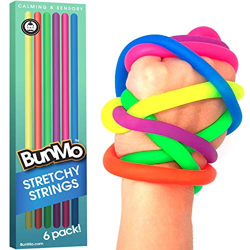 BUNMO Fidget Toys for Adults - Stretchy String Sensory Play Toys - 6 Pack